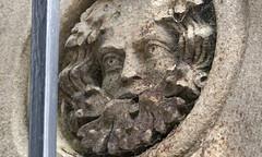 Gatepost detail, Hornby Castle entrance, Hornby, near Lancaster, UK (Ministry) Tags: greenman gatepost hornby castle lancaster lancashire uk carving sculpture lichen