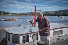 The sketcher. (f22photographie) Tags: artists sketching conwyharbour conwynorthwales riverscene boats northwales