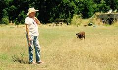 Trish and Kiki (Black Cat Bazaar) Tags: summer california losmolinos american dog dry grass hotday coldbeer cowboyhat flag friends chico deathorglory doublehappiness