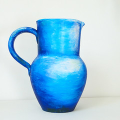Blue Jug from impressionists paintings come into life. Pottery painted with oil paints by Fortmoon. (fortmoon) Tags: ceramic artceramics art painted handpainted jug vase blue azure oilpainting pottery