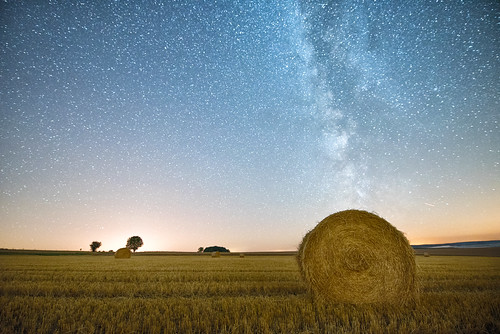A haystack at night