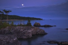 sawpit bay moonrise (twurdemann) Tags: algoma bluehour canada clouds fujixt1 fullmoon highway17 hoyandx8 lakesuperior landscape longexposure moonrise nature neutraldensityfilter northernontario ontario sawpitbay scenic seascape shoreline sky summer water