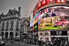 piccadilliness (kaimonster) Tags: piccadillycircus london england greatbritain outdoor overcast blackandwhite architecture vacation holiday billboard videoscreen gap pedestrians crowd tourists shopping kailauphotography