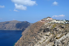 SantoriniLandscape (blue foot) Tags: blue sea island village cliffs greece hilltop santori bej the4elements abigfave