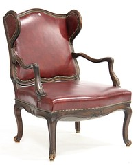 88. Fine Leather Upholstered Louis XV Style Gentleman