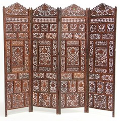 67. Four Panel Indonesian Carved Wood Screen