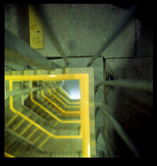 stairwell (pho-Tony) Tags: camera old uk blur color colour english 1948 120 6x6 film vintage square is fuji error 66 fujireala outoffocus f45 waist negative 1940s level 1950s british medium format veteran 90mm finder bellows glitch folder croydon agi folding reala collector 145 c41 9cm agilux agifold anastigmat 6cm tetenal autaut waistlevelfinder 6cmx6cm
