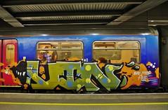 Runner (JOHN19701970) Tags: uk england london station train graffiti artwork paint artist panel steel spray runners graff february piece aerosol runner stpancras graffititrain 2013 artisr