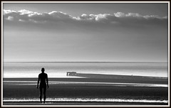 Another Place - (Explored 26/2/13) (The Old Brit-Back but way behind) Tags: sea beach water silhouette clouds liverpool mono coast artwork silhouettes statues ironman waterloo coastal rivers beaches coastline sculptures shorline scapes crosby antonygormley merseyside brightonlesands seaforth sculptors anotherplace rivermersey publicartwork ironmen liverpoolbay blundellsands