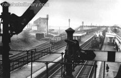M996-00068 (railphotolibrary.com) Tags: old boy england urban english industry station train europe industrial mood moody platform archive railway goods historic steam signals british coal youngster freight nottinghamshire semaphore trainspotter lms overbridge bw1 uk1