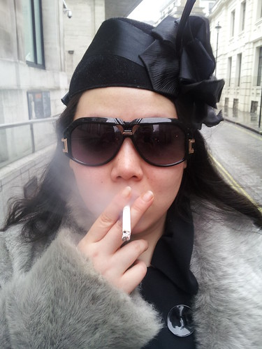 Smoking Shelley Li outside National Portrait Gallery