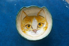 Orange Face Cat Bowl by Sharon (Chipmunk Hill Arts) Tags: original art ceramics handmade clay handpainted studentwork allages bloomingtonindiana underglazes lofire chipmunkhill earthenwre
