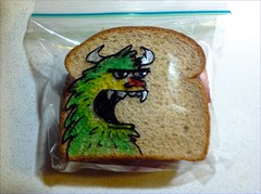 Silent roar (D Laferriere) Tags: art monster bag drawing sandwich sharpie creature rocketship attleboro sandwichbag drawrs laferriere drawr sandwichbagart