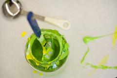 Not Paint (jessieflori) Tags: color green art glass yellow ink mix mess paint artist bright screen artsy screenprinting printing messy jar mixing lime splatter spatula
