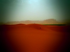 climbing sand dunes