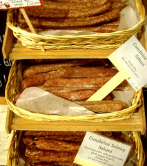 Cumbrian Solway Salami (Tony Worrall Foto) Tags: uk england food shop price pig sticks basket northwest spice north visit meat pork eat cumbria labels tray cumberland firecracker salami thelakes foodie meaty cumbrian lowsizerghbarnfarmshop 2013tonyworrall