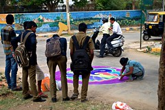 4 (akila venkat) Tags: street art colours patterns bangalore rangoli indianart