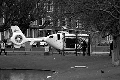 Waiting for the bus.. (PSG-79) Tags: bw netherlands rotterdam ambulance busstop helicopter emergency 112 bushalte eurocopter ec135 zuidholland airambulance helikopter bergsingel medicalhelicopter bergselaan liskwartier traumahelikopter lifeliner2 medicalairassistance