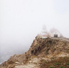 (Dani Padgett ) Tags: california lighthouse mamiya film fog point cow fuji instant medium format reyes