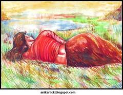 Watercolour painting - Sleeping Beauty - by Anikartick,Chennai,Tamilnadu,India (chennai Artist Anikartick) Tags: india color colour art water lady female painting sketch artwork paint drawing study artists watercolour concept chennai tamilnadu sleepinglady colorart femaleart washdrawing sittinglady figurework anikartick indianfemaeart