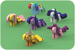 Mane Six (pasukaru76) Tags: lego render mlp mylittlepony povray rarity moc applejack ldraw fluttershy pinkiepie rainbowdash twilightsparkle manesix