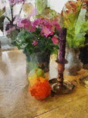 .. flowers and candlestick.. (Kerstin Frank art) Tags: flowers orange fruit table vase candlesticks crysantemum kerstinfrankart