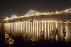 Bay Bridge Lights (cstout21) Tags: sf sanfrancisco california ca travel bridge chris vacation usa reflection water night landscape lights us unitedstates bright landmark historic pacificocean baybridge embarcadero bayarea westcoast hdr highdynamicrange stout ngoc canon60d stoutandstout northamera