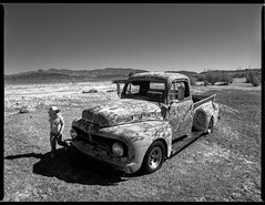 """""""That's a crazy truck!"""" (joshuammulligan) Tags: california old cute abandoned film analog truck fuji child desert ruin rusty bronica abandon mojave deathvalley neopan 100 analogue corroded acros junked tecopa etrsi etr rurex"""