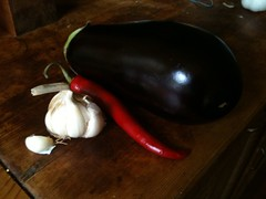 Aubergine, chilli and garlic (tig.sutton) Tags: red colour vegetables aubergine richness