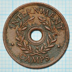 Internment Camp Token, Shilling (verso) (heritagefutures) Tags: world camp money japanese one coin italian war wwii bob australia ii german harvey canteen hay token pow shilling prisoner coinage chit rushworth 1s cowra loveday yanco interment myrtleford tatura marringup