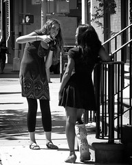 headshot (omoo) Tags: newyorkcity girls bw girl sandals westvillage streetscene tights skirt headshot sidewalk stoop prettygirls greenwichvillage oneshoe legcast blacktights bwphotograph girlwithacamera photographerandmodel saintlukesplace modelwearinglegcast stlukesplaceandhudsonstreet girlwearinglegcast