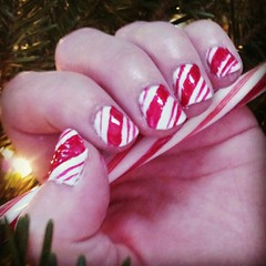 Nails (BrittneyKudalis) Tags: christmas red white stripes nails nailpolish candycane naildesign christmasdesign stripednails christmasnails