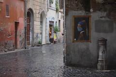 Perla. (RO.BO.COOP.) Tags: streetart roma pasteup poster smog mask ermine urbanart pearl vermeer posterart raffaello leonardodavinci arteurbana pearlearring robocoop streetartrome