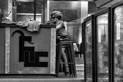 image (Luis Iturmendi) Tags: madrid street people blackandwhite bw blancoynegro monochrome bar monocromo calle pub loneliness gente streetphotography soledad