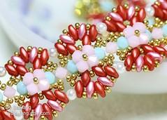 Annalisa (BeeJang - Piratchada) Tags: beadweaving beading beadwork beaded bracelet jewelry handmade superduo swarovski crystal miyuki seed bead gold golden purple violet amethyst blue sapphire red pink