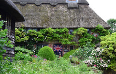 Amberley Open Gardens 2016 (Mark Wordy) Tags: amberleyopengardens 2016 westsussex village cottagegarden thatchedcottage thatchedroof unionjack flag wisteria roses