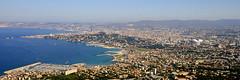 Vue arienne panoramique de Marseille (thibhou) Tags: marseille provence paca bouchesdurhne ville vue arienne stade vlodrome notre dame garde bonne mre capitale calanques massif massilia marseilles skyline air view mer sea mditerrane mediterranean panorama panoramique parc national marseilleveyre