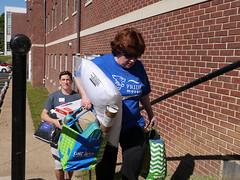 P1260563 (Widener University) Tags: movein studentmoveinday freshmanmoveinday freshman transfer boxes bins unload volunteers faculty staff