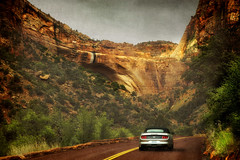mustang round the big arch (BarryKelly) Tags: zion national park utah mustang ford car road texture arch big
