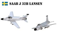 SAAB J 32B Lansen (Matthew McCall) Tags: lego army military war airforce fighter jet saab 32 lansen