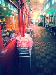 empty chairs at empty tables (Lilla~Rose) Tags: samsung oxford coveredmarket lesmiserables galaxys3