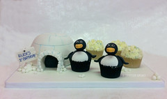 Birthday - March of the Penguins (Crumbs & Corkscrews) Tags: birthday white snow black cake penguin 1 1st cotswolds celebration cupcake snowball iceberg igloo cirencestercupcakes
