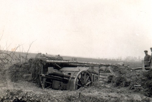 A captured British gun emplacement complete with its 18