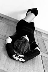 (Brave Lemming) Tags: blackandwhite woman sol girl monochrome hands dress floor legs noiretblanc body femme ground skirt mains fille crossed plancher allonge