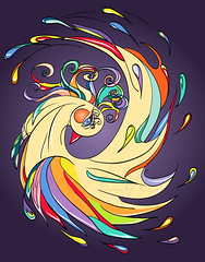 golden decorative bird (SkyLynxDesign) Tags: color cute bird eye art nature beautiful animal illustration night painting golden design flying graphic bright symbol drawing decorative background wildlife tail cartoon decoration wing feather craft multicoloured fairy ornament fantasy single luck tropical swirl curl outline ornate decor mythology vector tale detailed elegance
