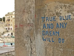 true blue and any dream will do (maramillo) Tags: blue wall words malta bigmomma unanimous thechallengefactory maramillo