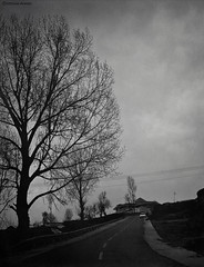 Lone-way (Ebtesam Ahmed) Tags: life road winter urban white black streets beauty vintage evening alone cityscape darkness lonely sight towns