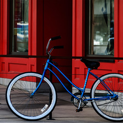 color (dotintime) Tags: blue red color window bike bicycle wheel storefront meganlane sidewalls dotintime