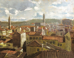 Florence, Italy, View from the Duomo (ChristopherClarkArt) Tags: city original houses italy art architecture buildings painting landscape florence italian paint mediterranean artist cityscape fine christopher daily tuscany clark painter oil impressionism impressionist tuscan