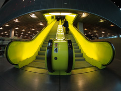 Yellow Escalator (bOw_phOto) Tags: library olympus fisheye remkoolhaas omd seattlecentrallibrary 75mm em5 seattleflickrmeetups rokinon stroll1302